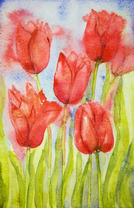 Bouquet of tulips in a field. - BRISTE