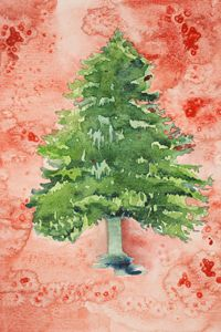 Christmas tree with a spotted red ba - BRISTE