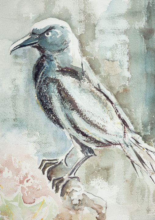 A bluish raven on a branch - BRISTE