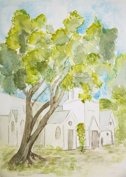 Lonesome tree in front of a church. - BRISTE