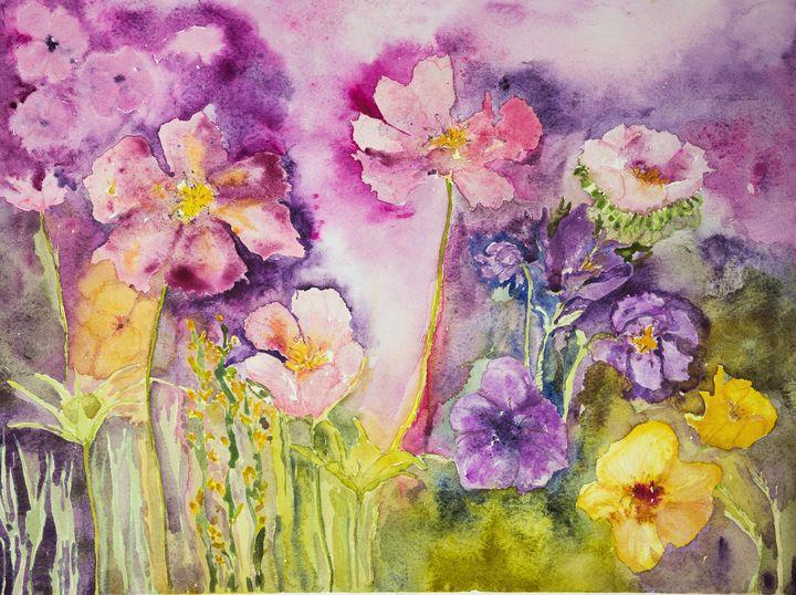 Wild flowers on a pink background. - BRISTE