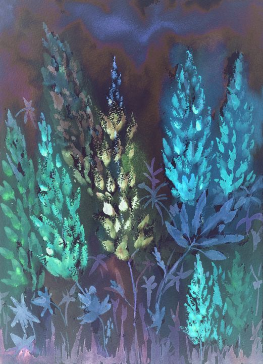 Nightly impression of blueish lupine - BRISTE