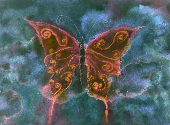 Red and orange butterfly - BRISTE