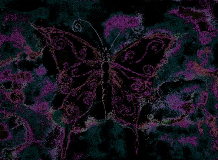 Red and pink outlined butterfly - BRISTE