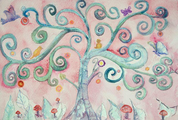 An imaginary turquoise lunatic tree. - BRISTE