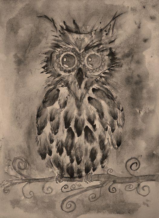 Retro fantasy owl in sepia - BRISTE
