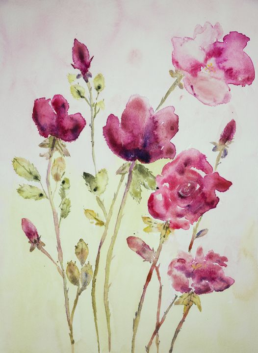 Roses on a pink and green background - BRISTE
