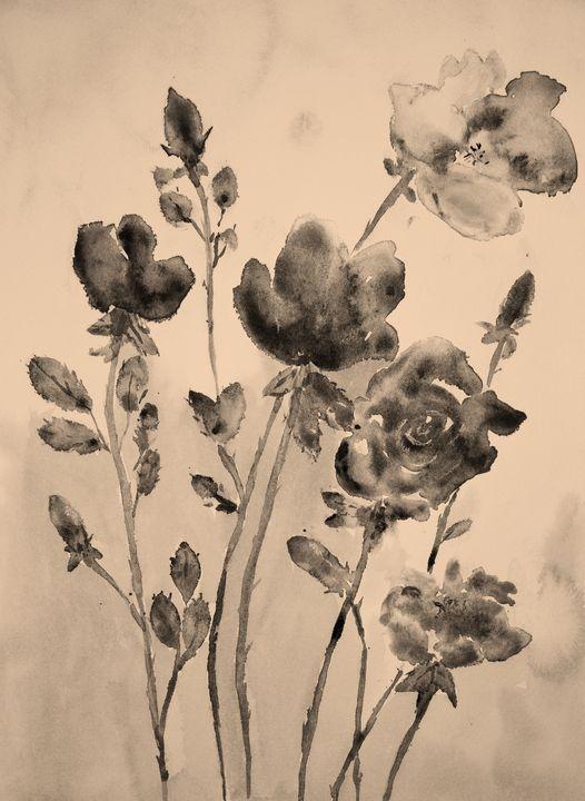 Vintage retro sepia roses background - BRISTE
