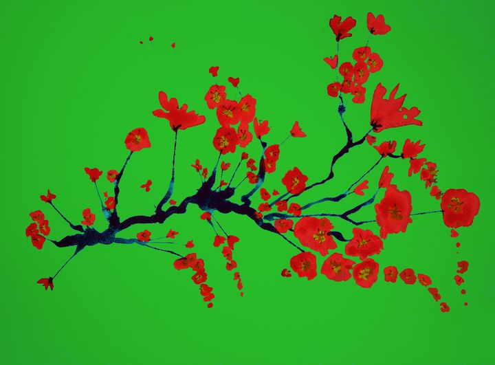 Branch of cherry blossoms on green - BRISTE