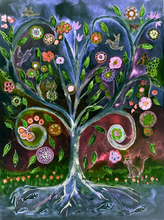 Folk art tree of life in the night. - BRISTE