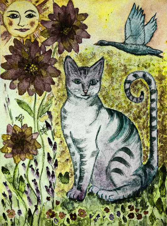 Rustic turquoise cat - BRISTE