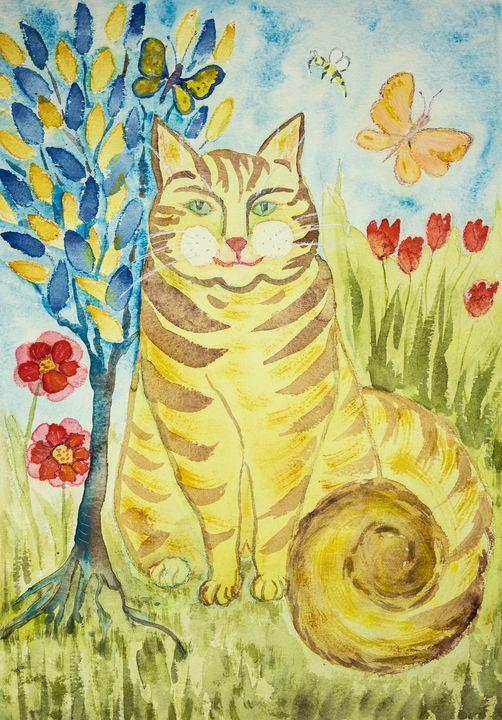 Striped ginger folk art cat with tre - BRISTE