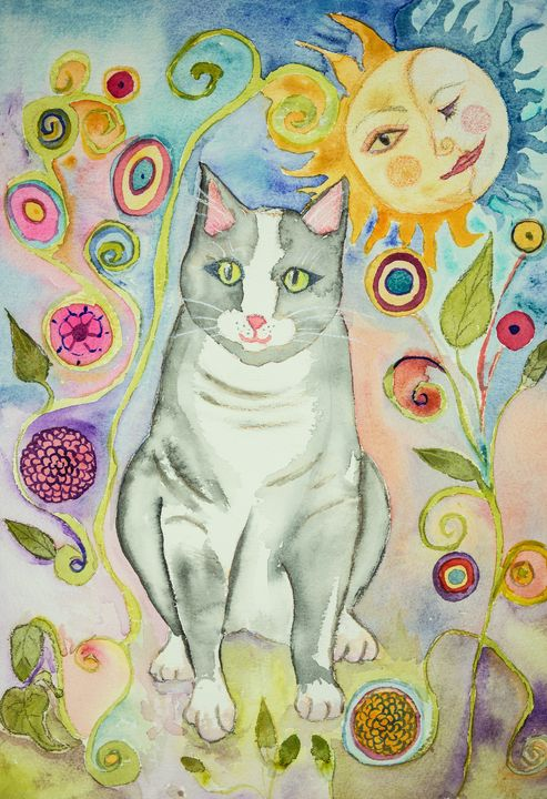 Grey folk art cat with sun and moon - BRISTE