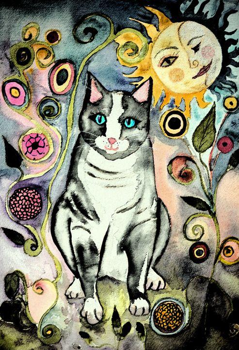 Grey folk art cat in the night. - BRISTE