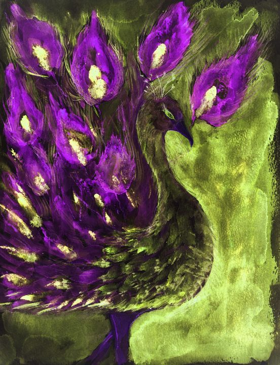 Peacock in purple and green. - BRISTE