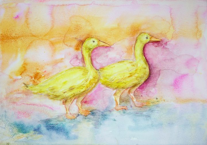 Two yellow gooses in the lake - BRISTE