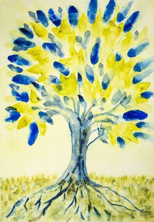 Folk art tree of life with yellow - BRISTE