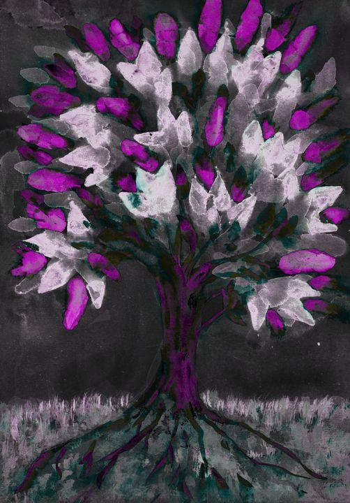 Folk art tree of life with lilac lea - BRISTE