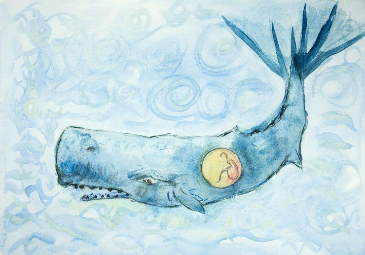 Jonah and the whale in curly water. - BRISTE