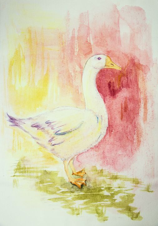 Goose on a pink and yellow backgroun - BRISTE