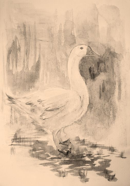 Goose in sepia tones with background - BRISTE