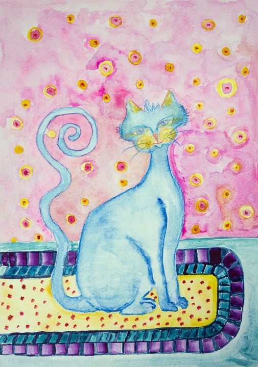 Blue cat with curly tail on sitting - BRISTE