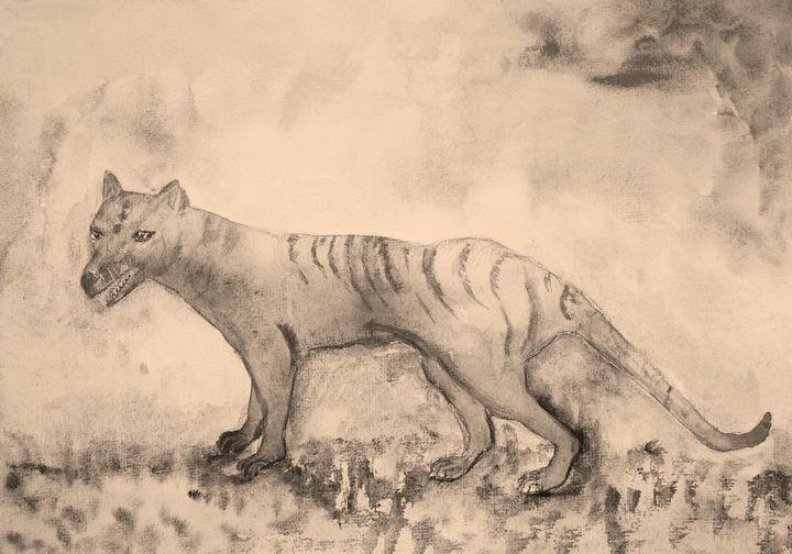 Tasmanian tiger in sepia tones. - BRISTE