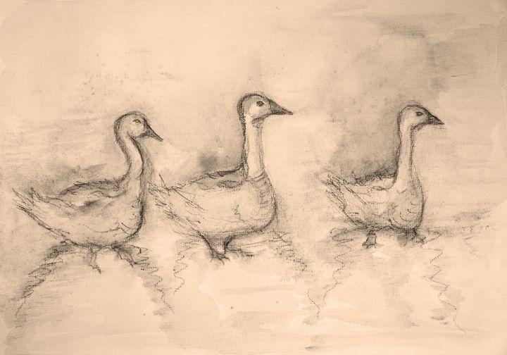 Three gooses in sepia tones. - BRISTE