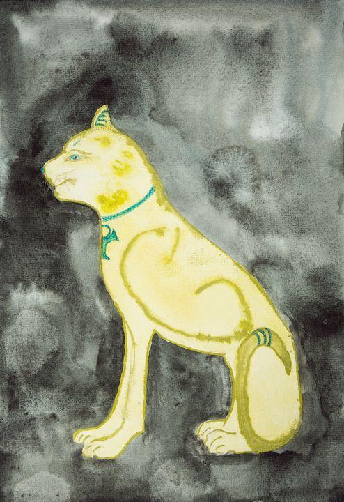 Golden sphinx on a black background. - BRISTE