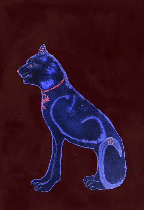 Velvet blue sphinx on a bordeaux bac - BRISTE