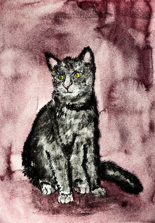 Cat on a whine red background. - BRISTE