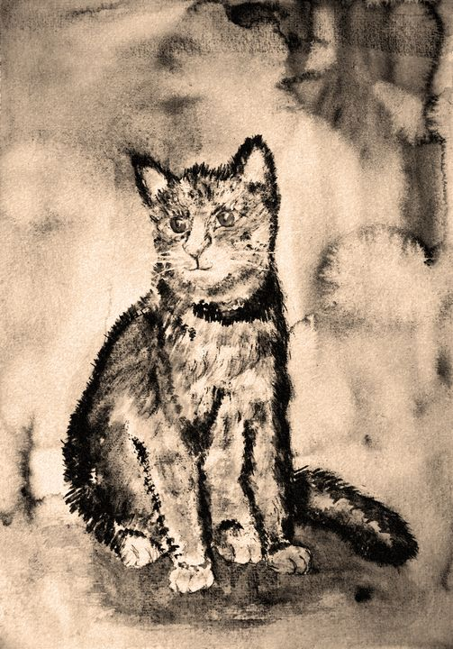 Kitten in sepia tones with a backgro - BRISTE