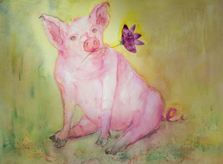 Chinese zodiac, illuminated pig with - BRISTE