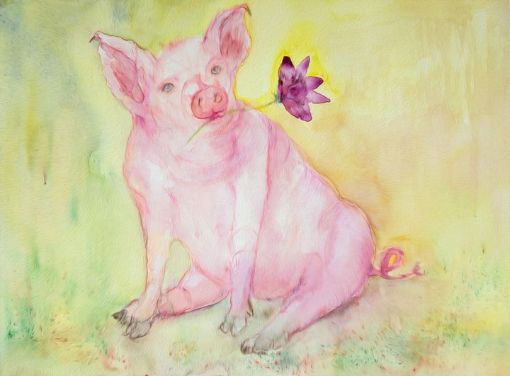 Chinese zodiac, oilpainting of a pig - BRISTE