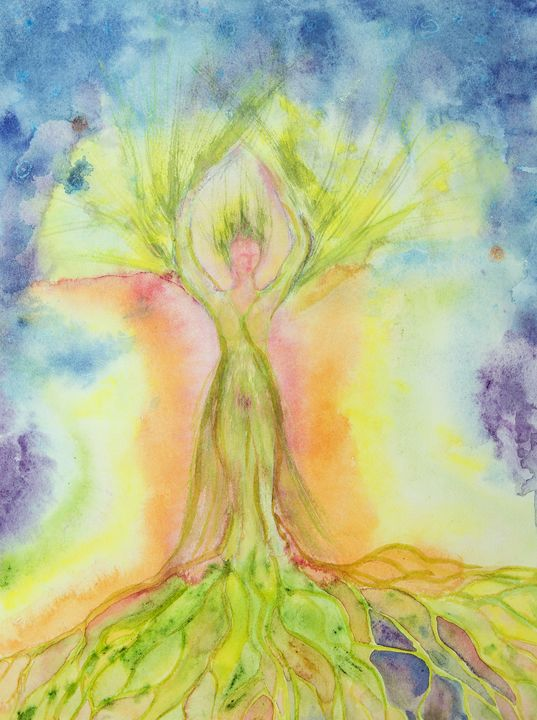 Woman tree of life with aura. - BRISTE
