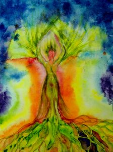 Psychedelic woman tree of life with