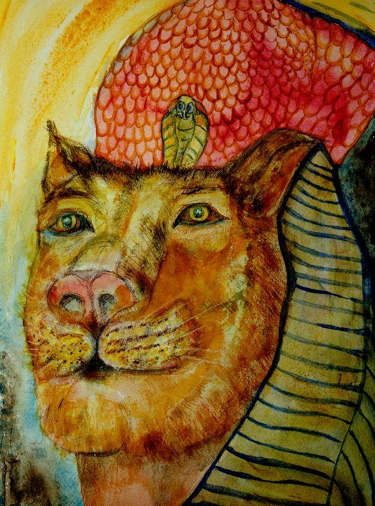 Sekhmet the lioness with bright colo - BRISTE
