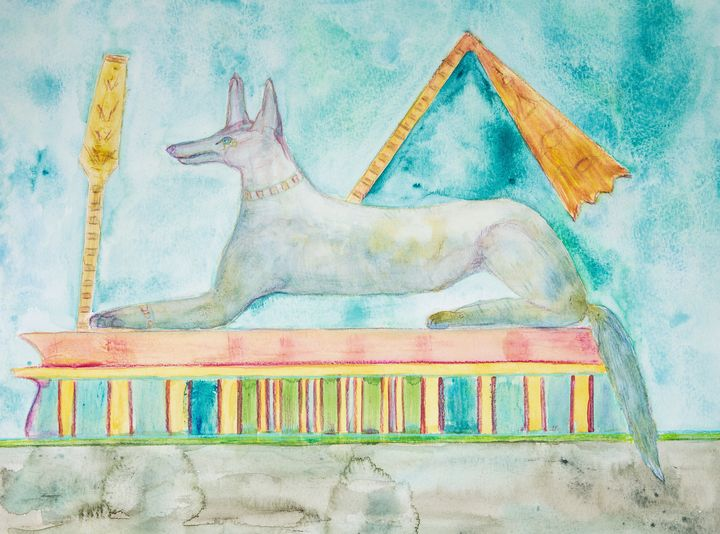 Anubis lying on a tomb. - BRISTE