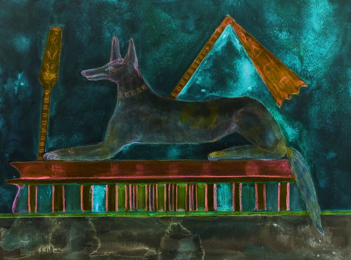 Anubis lying on a tomb with turquois - BRISTE