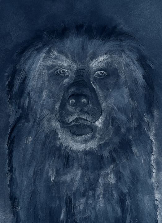 Blue pastel drawing of Leonberger po - BRISTE