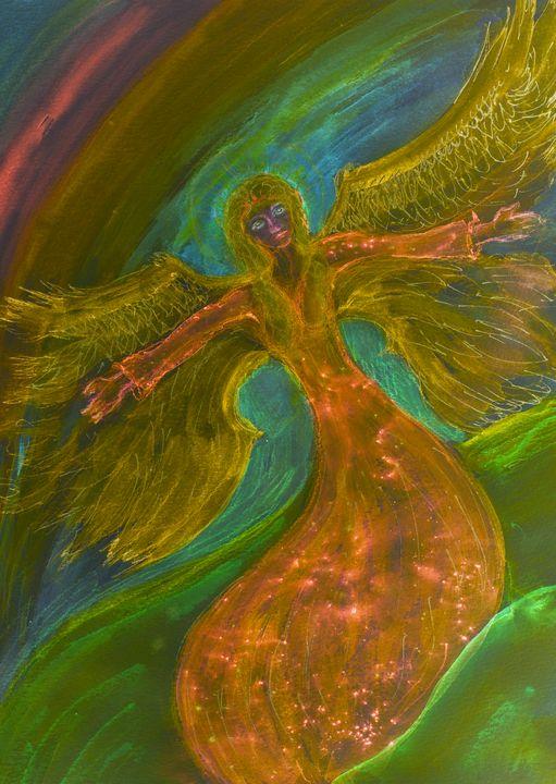 Psychedelic flying feminine angel. - BRISTE