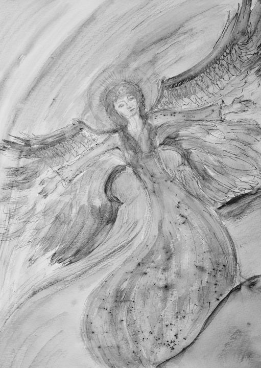 Drawing of a flying feminine angel. - BRISTE