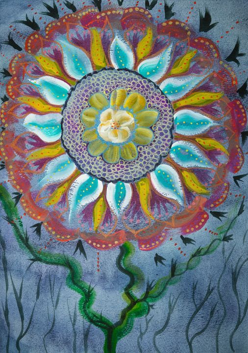 Mandala flower on a blue background. - BRISTE