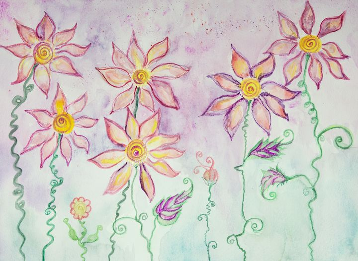 Whimsical hippie flowers with curly - BRISTE