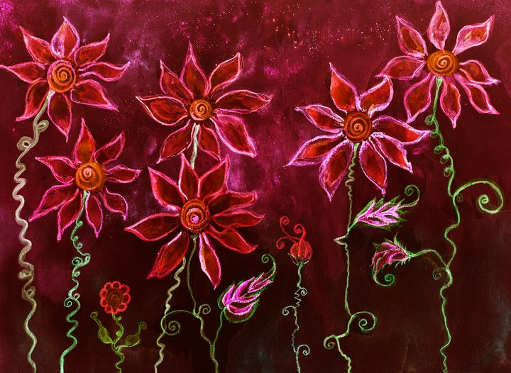 Red hippie flowers with curly stems. - BRISTE
