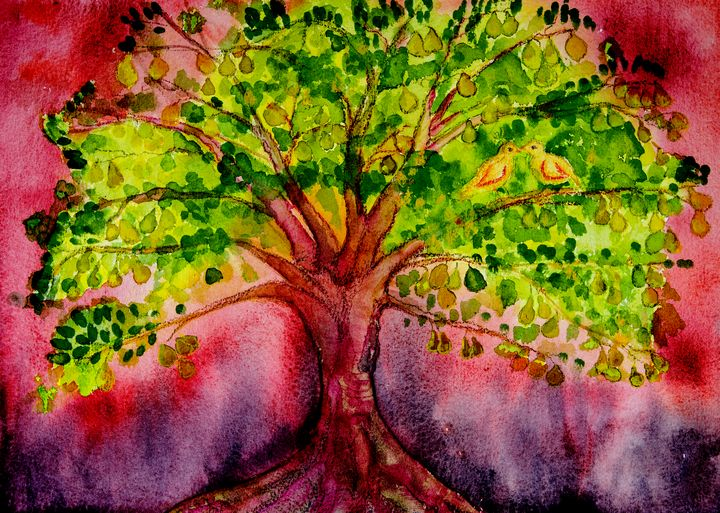 Psychedelic pear tree with doves and - BRISTE