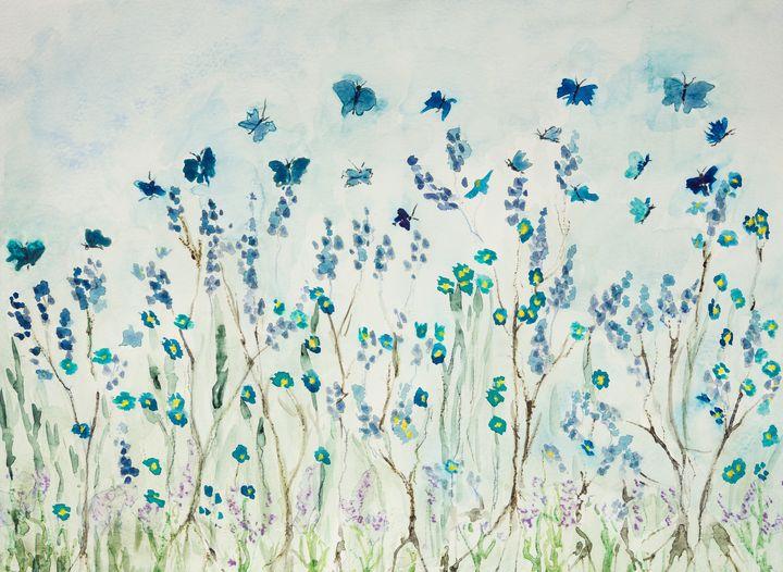 Flying butterflies in lavender field - BRISTE