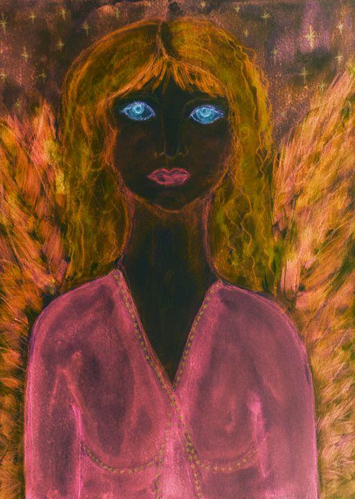 Black feminine angel with pink dress - BRISTE