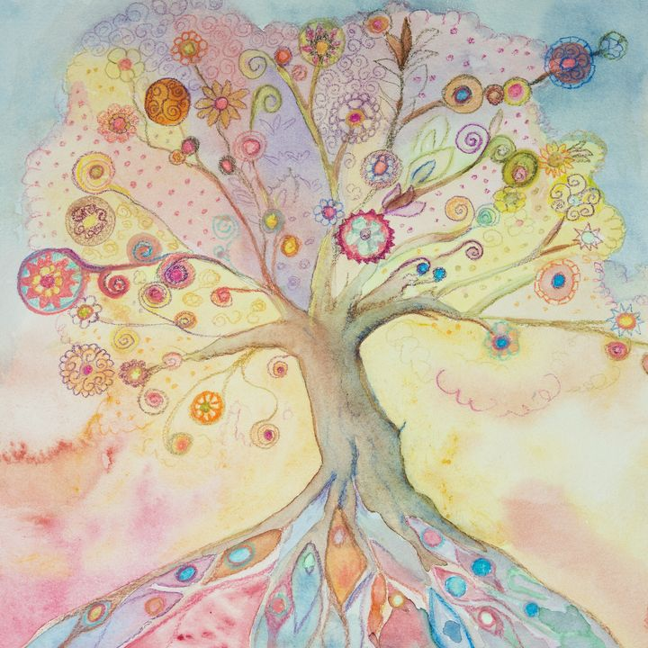 Whimsical tree of life with pastel - BRISTE