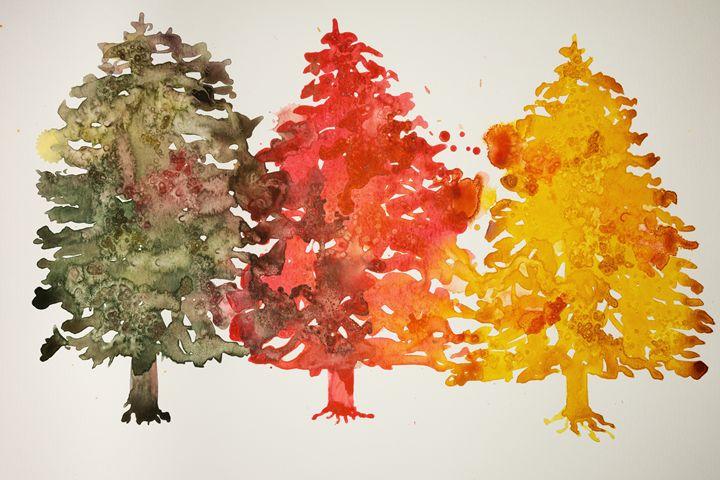 Three colored christmas trees - BRISTE